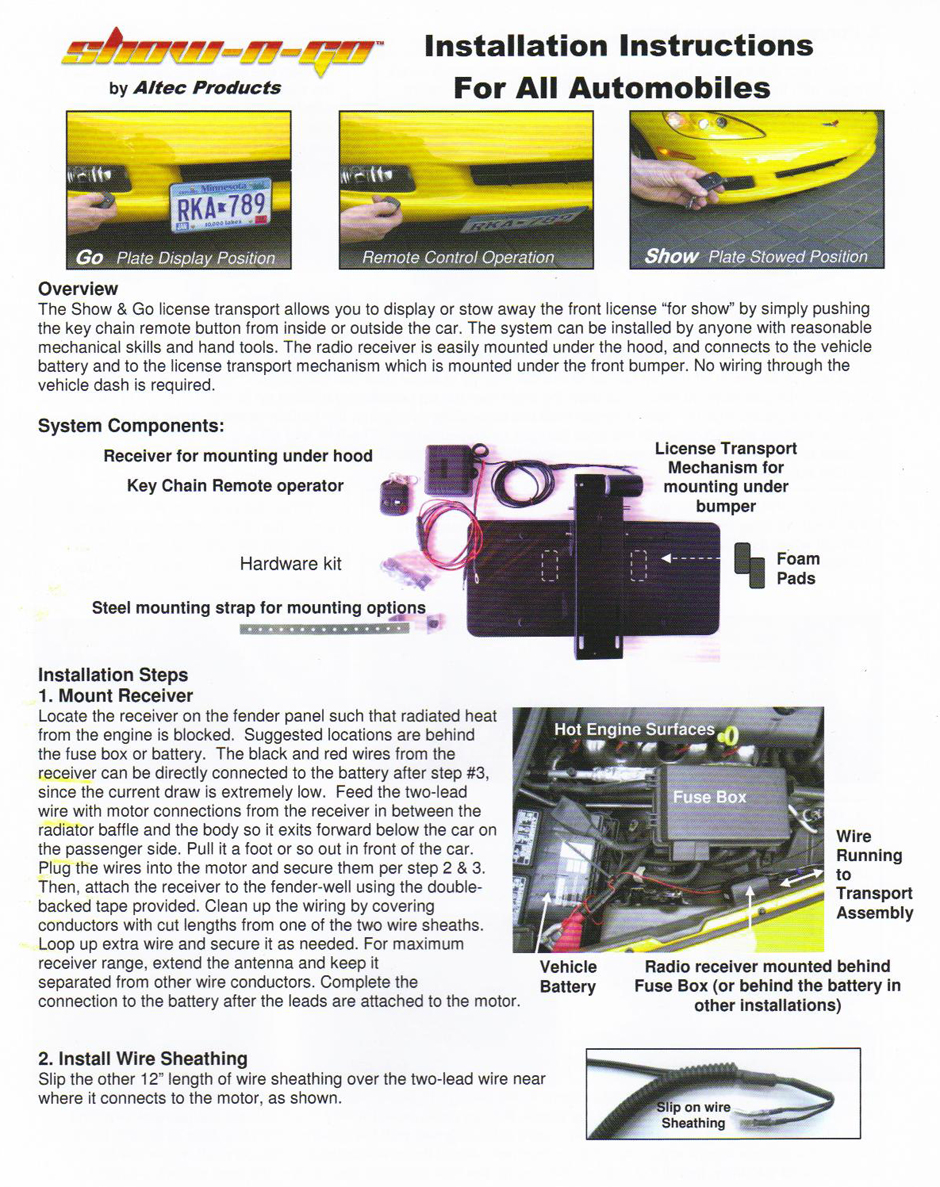 sc 1 st  Yates Performance & Electric Show-N-Go Retractable License Plate Frame Instructions