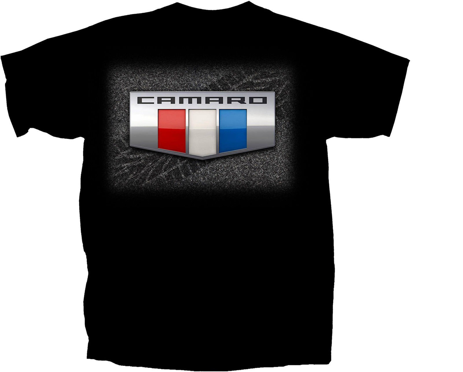 2016 Camaro Red White & Blue Badge Shield Crest Logo Black Tee Shirt