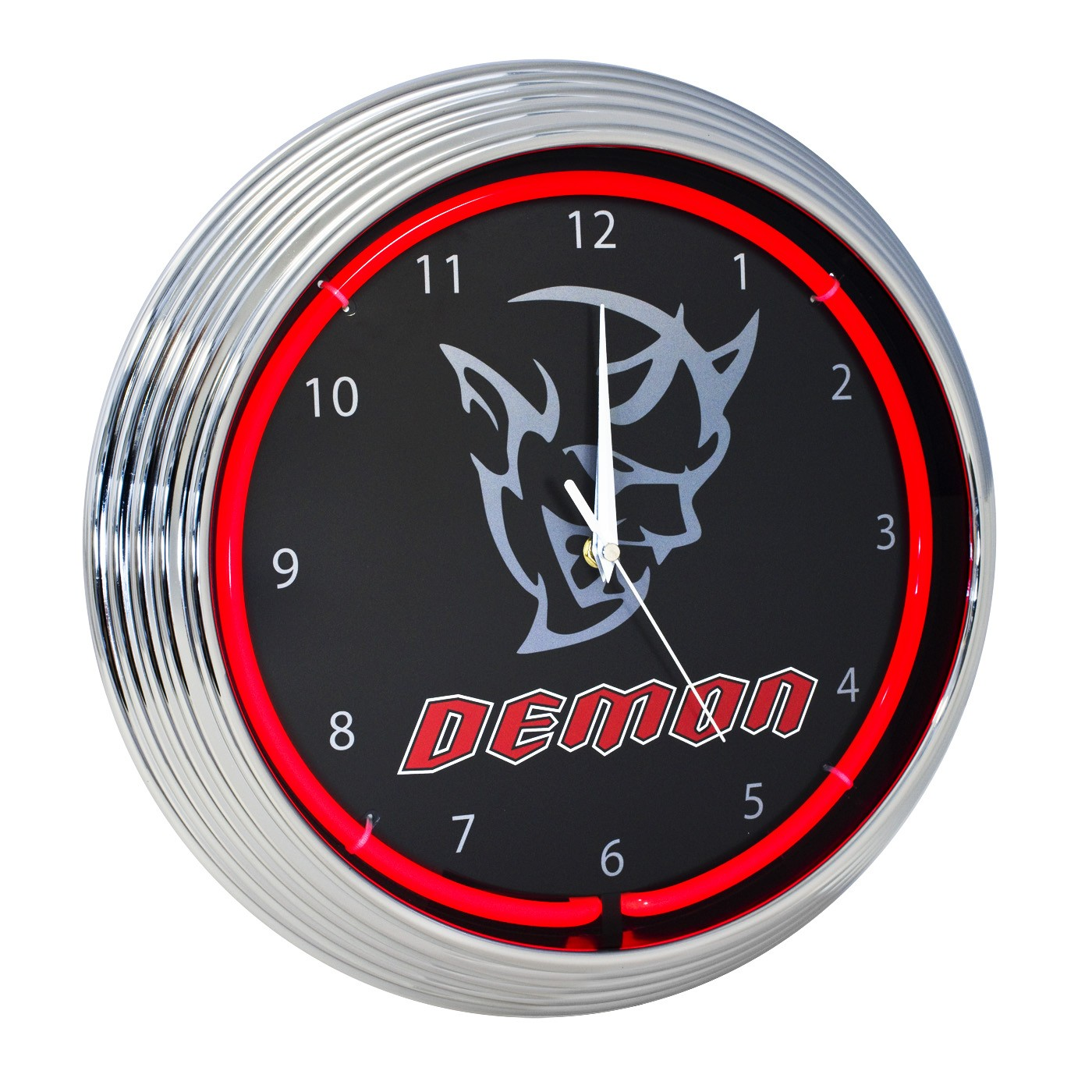 Challenger Demon SRT Clock Red Neon Illuminated Lighted - Black & Chrome Trim