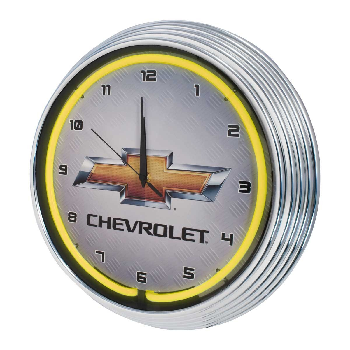 Chevrolet Bowtie Illuminated Light Up Neon Clock Yellow w/ Chrome Trim
