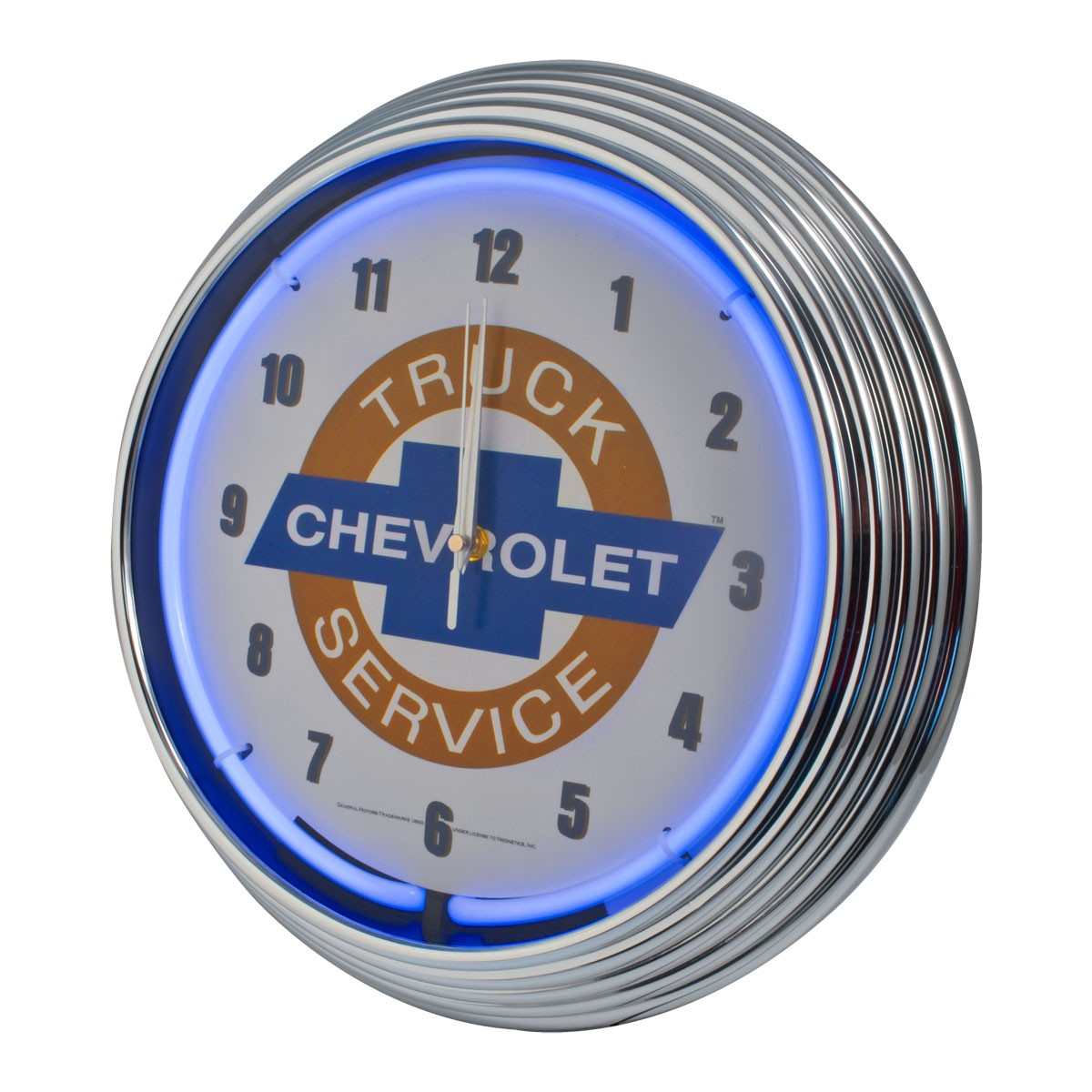 Chevrolet Chevy Trucks Service Bowtie Blue Illuminated Light Up Neon Clock w/ Chrome Trim