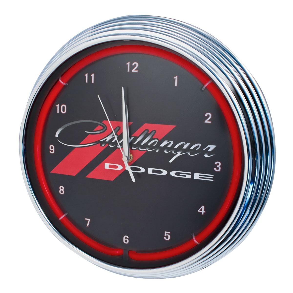 Dodge Challenger Red Illuminated Light Up Neon Clock w/ Chrome Trim