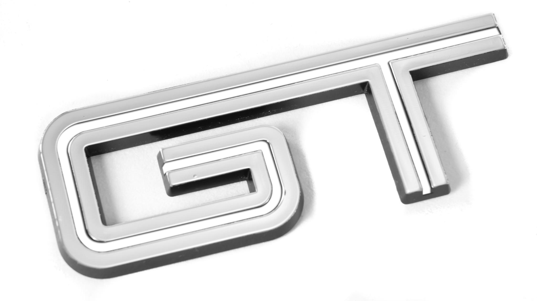 Mustang Gt White Chrome Fender Trunk Emblem