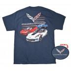 C7 Corvette Grand Sport American Flag Blue T Shirt 100% Cotton