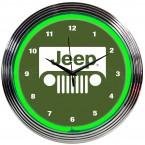 Jeep Grille Illuminated Light Up Neon Clock Green w/ Chrome Trim