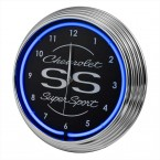 Chevrolet Chevy SS Supersport Blue Illuminated Light Up Neon Clock w/ Chrome Trim