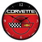 "Chevrolet Corvette C4 Crossed Flags 14"" Backlit Light Up Garage Wall Clock - Red & Black"