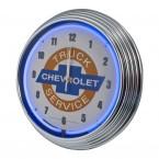 Chevrolet Chevy Trucks Service Bowtie Blue Illuminated Light Up Neon Clock w/ Chrome Trim