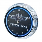 Chevrolet Chevy Trucks Bowtie Blue Illuminated Light Up Neon Clock w/ Chrome Trim