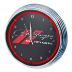 Dodge Challenger Red Illuminated Light Up Neon Clock w/ Chrome Trim