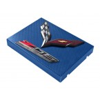 2014+ C7 Corvette Blue Carbon Fiber Style Fuse Box Cover - Black Flags & Z06 Logos