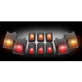 2003-2009 Hummer H2 Smoked Cab Roof Light Set - Amber & Red LED