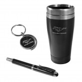 Ford Mustang Travel Mug Keychain & Ink Pen Gift Set - Choice of Color
