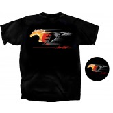 Ford Mustang Flaming Running Horse Black Tee Shirt