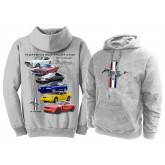 "Gray ""Nothing But Mustang"" Gallery with Running Horse & Bars Hoodie Sweatshirt"