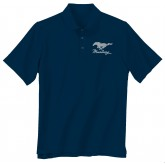 Ford Mustang Blue Collar Polo Shirt with Silver Running Horse