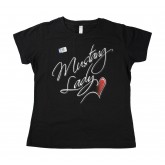 "Black ""Mustang Lady"" Cotton Tee Shirt with Heart Graphic"