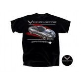 C7 Corvette Black Tee Shirt - Gray Stingray & Crossed Flags Logos