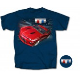 2016 Camaro Blue T-Shirt Shirt with Red Racing Coupe & Shield Logos