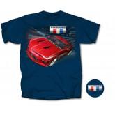 2016 Camaro Blue T-Shirt Shirt with Red Racing Coupe & Shield Logos