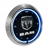 Dodge RAM Truck White Neon Light Up Lighted Clock - Black & Chrome Trim