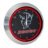 Challenger Demon SRT Clock Red Neon Illuminated Lighted - Black & Chrome Trim