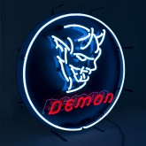 "Dodge Demon Black Metal Neon Lighted Sign w/ Red & White Illumination 24"""