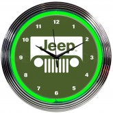 Jeep Grille Illuminated Light Up Neon Clock Green w/ Chrome Trim