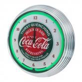 Coca Cola Retro Illuminated Light Up Neon Clock Green w/ Chrome Trim