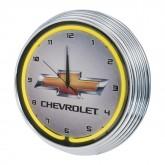 Chevrolet Bowtie Illuminated Light Up Neon Clock Yellow w/ Chrome Trim