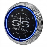 Chevrolet Chevy SS Supersport Blue Illuminated Light Up Neon Clock w/ Chrome Trim