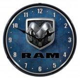 """Dodge Ram 14"""" Backlit Light Up Garage Wall Clock - Black Trim"""