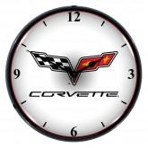 "Chevrolet Corvette C6 Crossed Flags 14"" Backlit Light Up Garage Wall Clock"