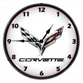 "Chevrolet Corvette C7 Crossed Flags 14"" Backlit Light Up Garage Wall Clock"