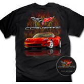 Red Corvette C6 Black T-Shirt with Flames