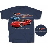 C6 Corvette Blue T-Shirt Shirt America Still Builds Rocketships & Flags Logo