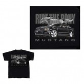 "Ford Mustang Black ""Ride the Pony"" Short Sleeve T-Shirt with Running Horse"