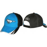 Mustang Blue & Black Adjustable Cap Hat with Silver Running Horse Logo