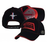 Mustang Boss 302 Black & Red Cotton Adjustable Hat with Pony Bars & Ford Logos