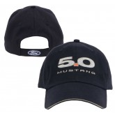 Mustang Navy Blue Cotton Adjustable Hat with 5.0 and Ford Oval Logos