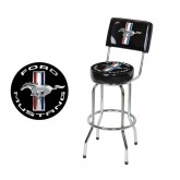 Ford Mustang Running Horse Black & Chrome Padded Bar Stool with Back Rest
