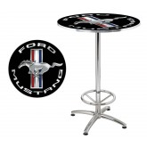 "Ford Mustang Running Horse Round Cafe Table 27"" - Black & Chrome"