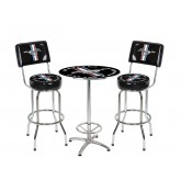 "Ford Mustang Chrome & Black Running Horse 27"" Round Cafe Table + 2 Bar Stools"
