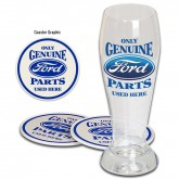 Only Genuine Ford Parts Used Here Pilsner Beer Glass w/ Tin Coasters