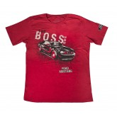 Red Ford Mustang Shirt w/ Black Boss 302