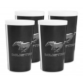 Mustang Silver Running Pony Black & White 16oz Tumblers - Set of 4