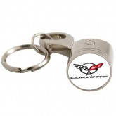C5 Corvette White & Chrome Piston Head Keychain