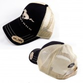 Mustang Black & Tan Mesh Adjustable Cotton Hat - Running Horse & Ford Logos