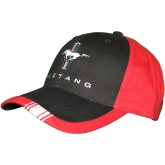 Ford Mustang Running Horse & Tribar Logo Black & Red Adjustable Hat Cap