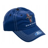 Mustang Navy Blue Adjustable Hat Cap - Running Horse Tribar & Ford Oval Logos